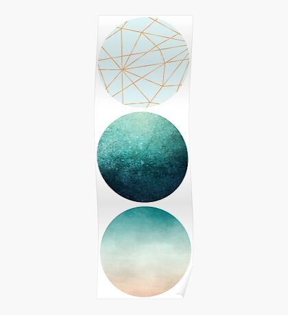 Geometric Circles in aqua, teal and rose gold. Poster