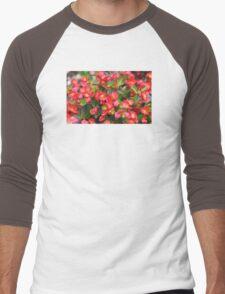 Red Flowers Bloom Men's Baseball ¾ T-Shirt