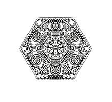 Mandala Design with Flower Photographic Print