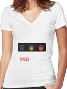 The Light Turned Red -  Waitress the Musical  Women's Fitted V-Neck T-Shirt