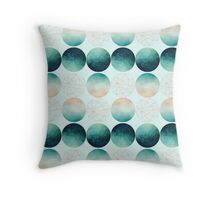 Geometric Circles in aqua, teal and rose gold. Throw Pillow