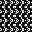 Black White Circles Dots Design Pattern Pillow by red addiction