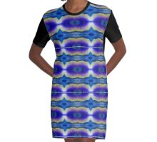Purple Blue Yellow Stencil Space Psychedelic Dresses Graphic T-Shirt Dress