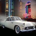 White Thunderbird Classic car 50's background by Irisangel
