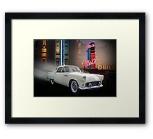 White Thunderbird Classic car 50's background Framed Print