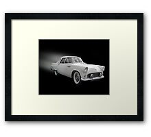 White Thunderbird Classic car on black Framed Print