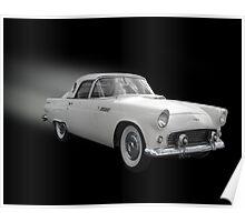 White Thunderbird Classic car on black Poster