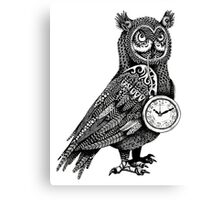 Great Horned Owl with Pocket Watch Canvas Print