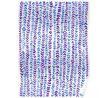 Hand Painted Herringbone Pattern in Purple & Blue Poster