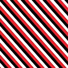 Black Red White Stripe Pattern Pillow by red addiction