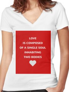 Love is composed of a single soul Women's Fitted V-Neck T-Shirt