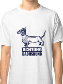 Achtung Dachshund blue Classic T-Shirt