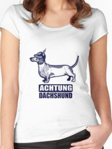 Achtung Dachshund blue Women's Fitted Scoop T-Shirt