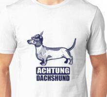 Achtung Dachshund blue Unisex T-Shirt