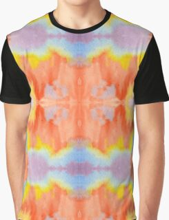 Handpainted Abstract Watercolor Orange Yellow Blue Purple Graphic T-Shirt
