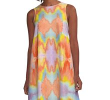 Handpainted Abstract Watercolor Orange Yellow Blue Purple A-Line Dress