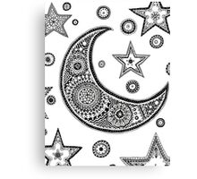 Moon and Star Zentangle Design Canvas Print
