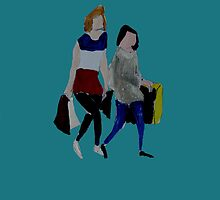 Shopping For Skinny Jeans Two Girls Shopping Acrylic Painting On Paper Blue by JamesPeart