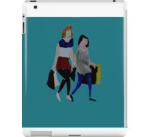 Shopping For Skinny Jeans Two Girls Shopping Acrylic Painting On Paper Blue iPad Case/Skin