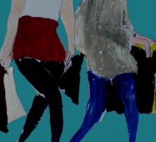 Shopping For Skinny Jeans Two Girls Shopping Acrylic Painting On Paper Blue Sticker