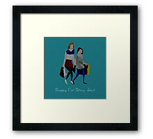 Shopping For Skinny Jeans Two Girls Shopping Acrylic Painting On Paper Blue Text Framed Print