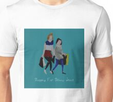 Shopping For Skinny Jeans Two Girls Shopping Acrylic Painting On Paper Blue Text Unisex T-Shirt