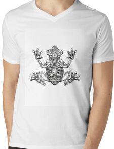 Frog Zentangle Mens V-Neck T-Shirt