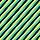 Blue Black Yellow Stripe Pattern Pillow by red addiction