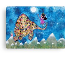 Missy and Elephant fly to the Moon Canvas Print