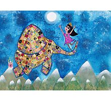 Missy and Elephant fly to the Moon Photographic Print