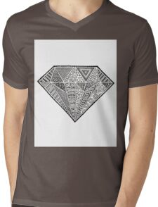 Diamond Zentangle Mens V-Neck T-Shirt