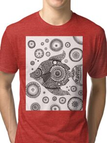 Fish with Bubbles Zentangle Tri-blend T-Shirt