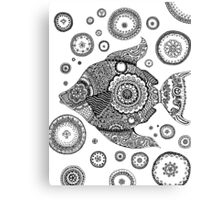 Fish with Bubbles Zentangle Canvas Print