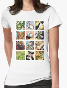 Animal Musicians Montage Womens Fitted T-Shirt