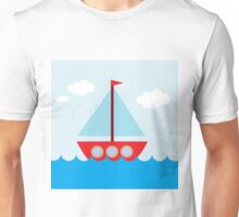 Red & Blue Sailboat Unisex T-Shirt