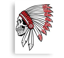 Red Skin Chief Skull Canvas Print