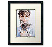 Matthew Gray Gubler with dog Framed Print