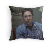 JD screams internally Throw Pillow