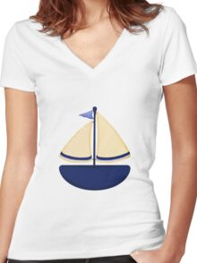 Blue and Yellow Sailboat Women's Fitted V-Neck T-Shirt