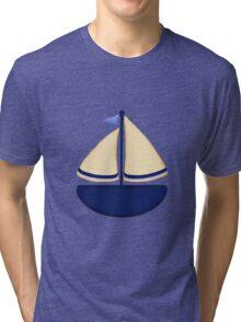 Blue and Yellow Sailboat Tri-blend T-Shirt