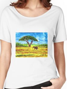 The Wanderer elephant safari alcohol ink Africa  Women's Relaxed Fit T-Shirt