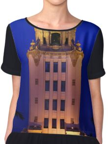 Beverly Hills City Hall Tower glows in the Waning Sunset Light Chiffon Top