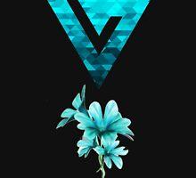 Turquoise Floral Watercolor Seventeen Logo T-Shirt Unisex T-Shirt