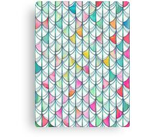 Pencil & Paint Fish Scale Cutout Pattern - white, teal, yellow & pink Canvas Print