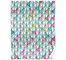 Pencil & Paint Fish Scale Cutout Pattern - white, teal, yellow & pink Poster