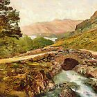A digital painting of  Ashness Bridge and Skiddaw, Derwentwater, Lake District, England by Dennis Melling