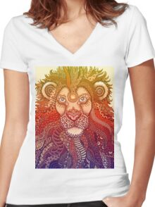 Majestic Lion - Rainbow Themed Zentangle Women's Fitted V-Neck T-Shirt
