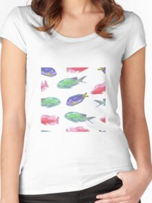 Tropical Watercolor Fish Collection Women's Fitted Scoop T-Shirt