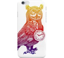 Great Horned Owl with Pocket Watch - Rainbow iPhone Case/Skin