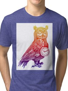 Great Horned Owl with Pocket Watch - Rainbow Tri-blend T-Shirt